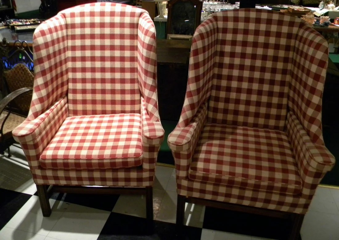 Gingham Chair Pr Red White Gingham Wingback Chairs The Sereaph