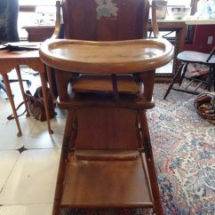 Vintage Wood High Chair Outdoor Rattan Rocking Uk E L Thompson