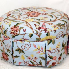 Hickory Fry Sofa Where To Buy Legs Blue Floral Crewel Upholstered & Skirted Ottoman