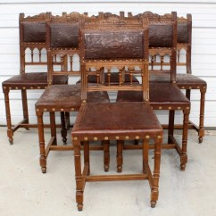 Leather Chairs For Sale Chair Cushion Covers Amazon Vintage Antique Set Of 6 French Embossed