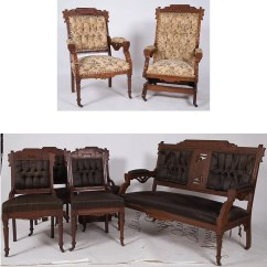 Eastlake Victorian Parlor Chairs Stool Chair Pics A Walnut Set With Horsehair
