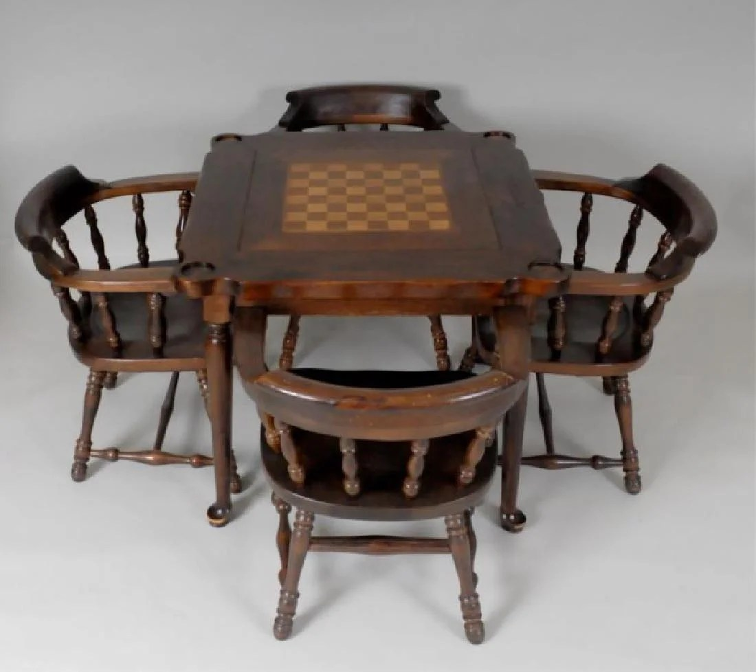 Ethan Allen Club Chairs Ethan Allen Pine Games Table 4 Club Chairs On Liveauctioneers