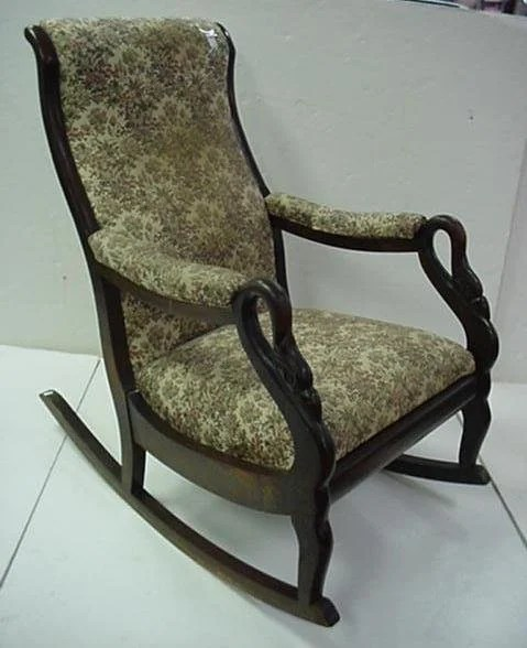 Swan Chair 737: Mahogany Frame Upholstered Swan Neck Rocking Chair