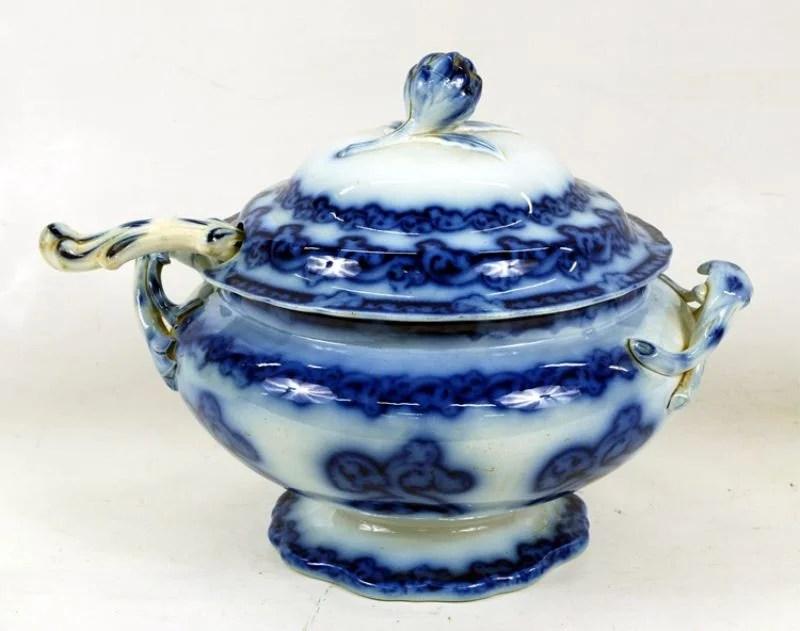 Flow Blue Soup Tureen With Ladle
