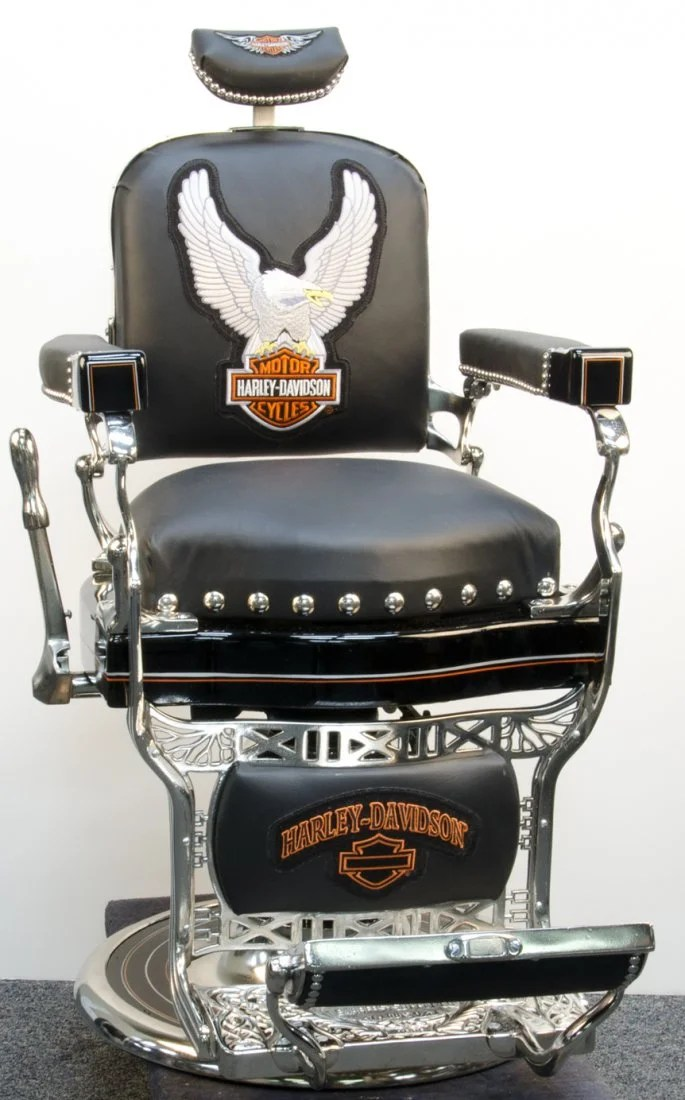 koken barber chair for sale high seat beach chairs with canopy restored in harley davidson motif