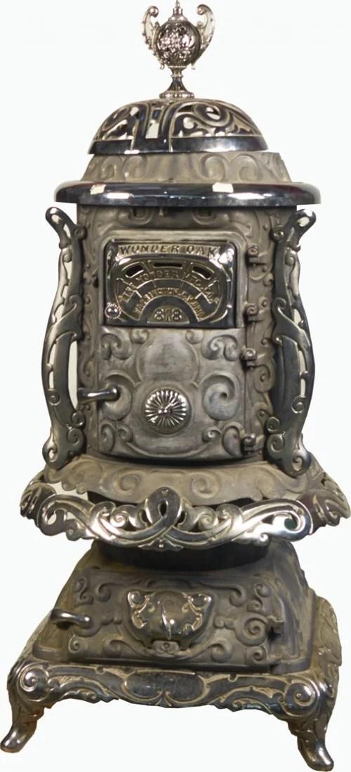 Antique Ornate Oak 818 Cast-iron Pot Belly Stove