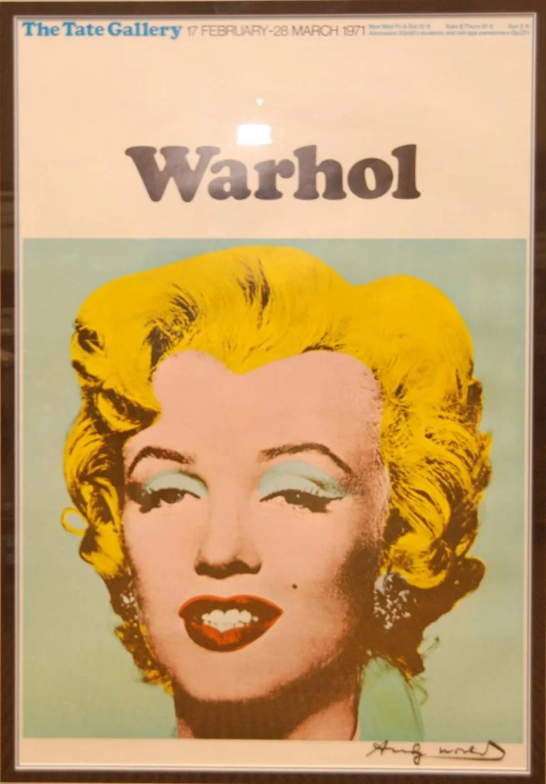 Andy Warhol Tate Poster Monroe Signed