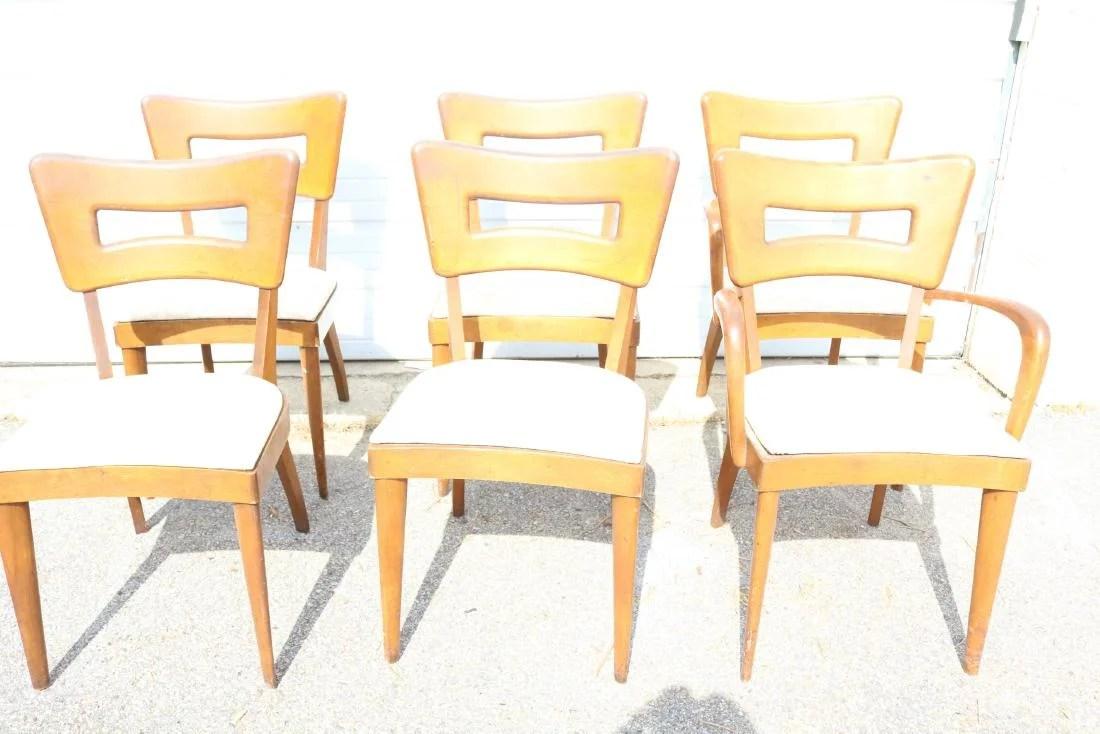 heywood wakefield dogbone chairs chair stool with wheels lot of 6 dog bone rock maple