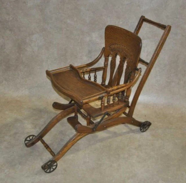 antique high chairs accent arm under 200 36 converting oak chair stroller