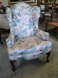 floral upholstered chair office depot an ethan allen wing with