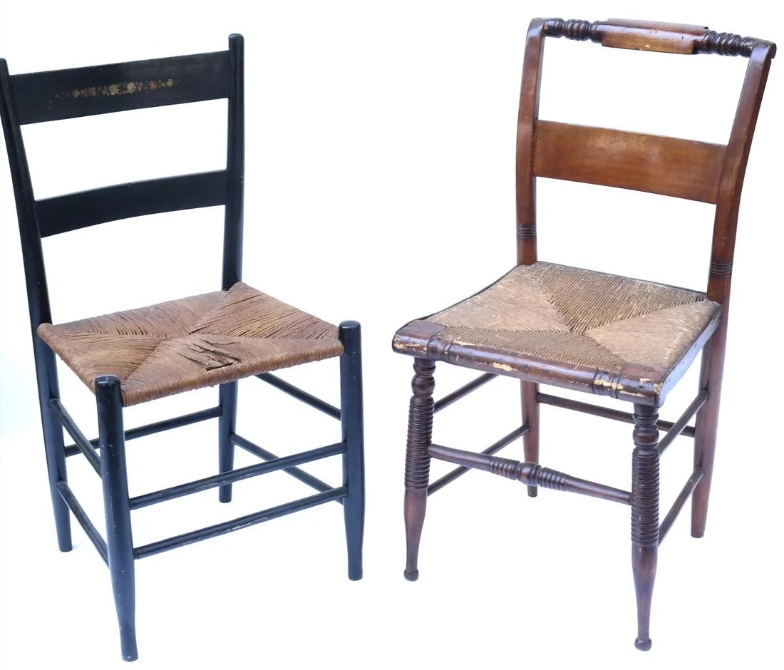 rush seat chairs one and a half chair canada two antique american