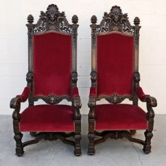 High Backed Throne Chair Green Dining Room Chairs Uk Pr 19th C Heavily Carved Back