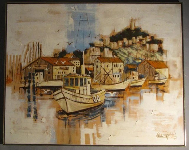 667a Lee Reynolds Fishermans Wharf Large Oil Canvas