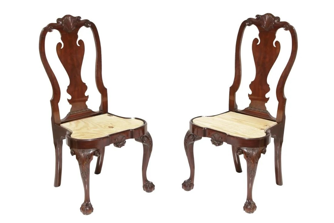 queen anne style chairs high top kitchen table and pair kindel side