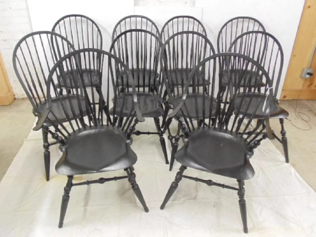 Windsor Chairs Black Set 10 Peter Franklin Windsor Chairs In Black On Liveauctioneers