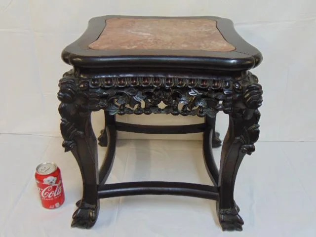 Chinese carved marble top plant stand, carved ebony