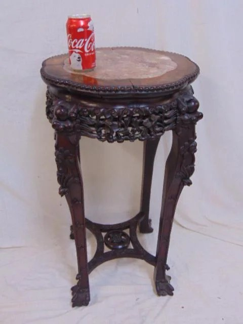 Chinese carved marble top plant stand, stretcher base,