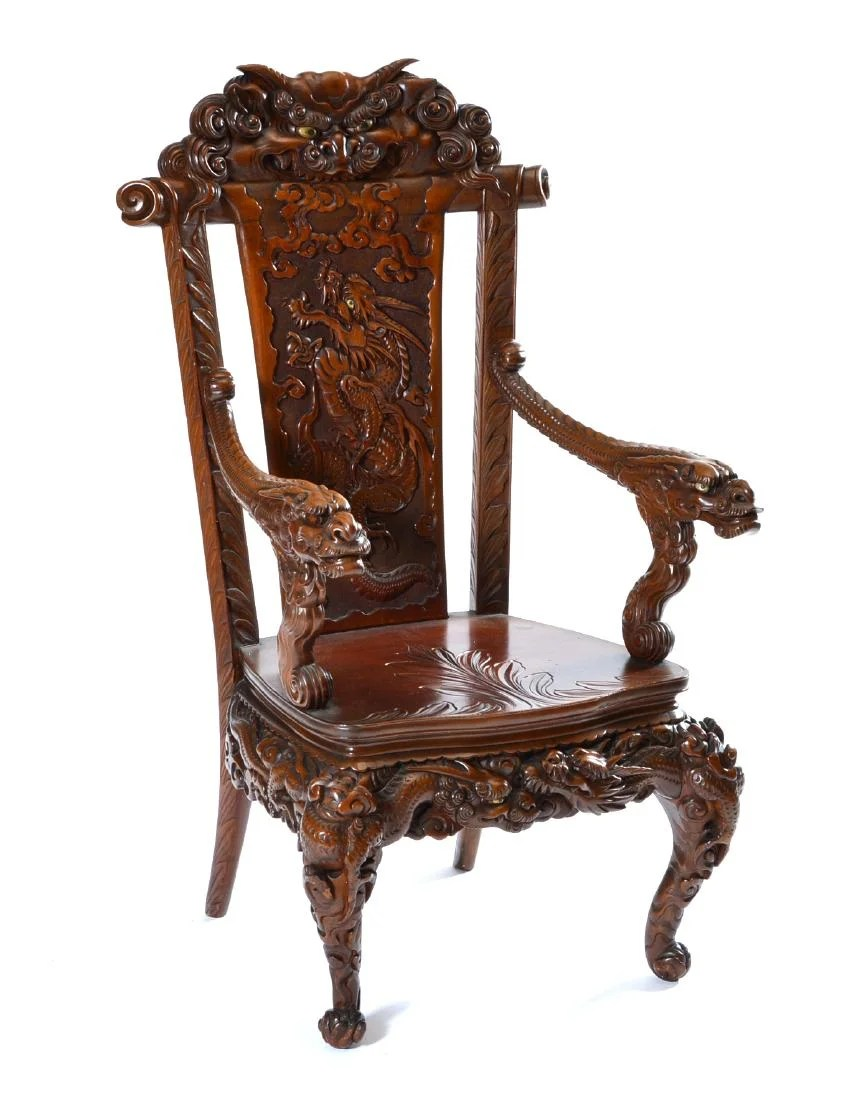 Japanese Chair Japanese Tomekichi Suzuki Carved Dragon Chair On Liveauctioneers