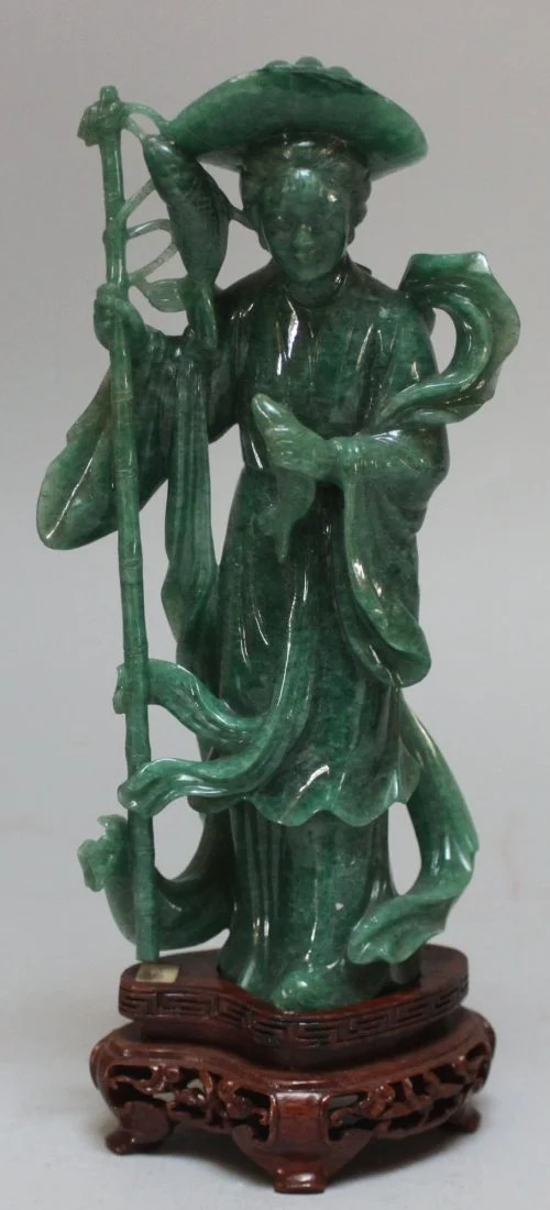 chinese chippendale chairs over sized antique he nan jade fisherman lady figurine