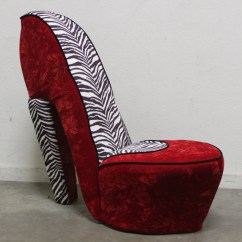Red Heel Chair Covers For Hire London Zebra Print High Shoe Velvet