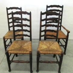 Antique Ladder Back Chairs With Rush Seats Plastic Adirondack And Tables 4 Seat