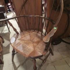 Antique Windsor Chairs Wedding Bride And Groom Chair Rush Seat Excellent Condition