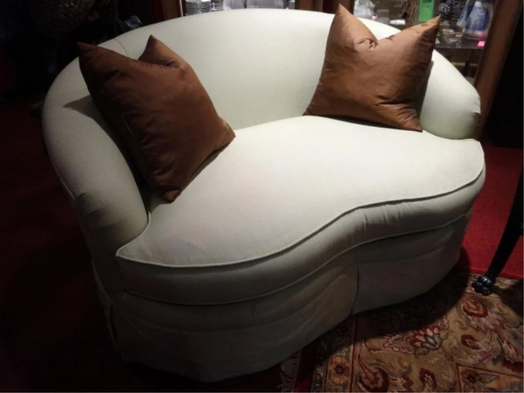 loveseat and chair a half mould design curved arm skirted base