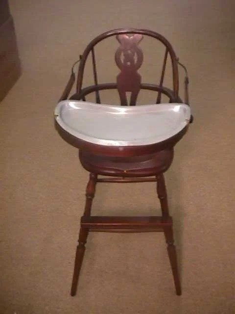 antique high chairs office chair kohls 982 wood baby metal tray