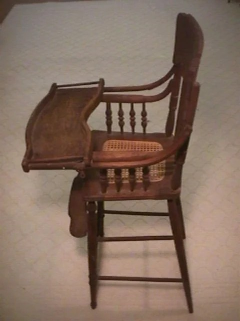antique high chairs how to fold up a cosco chair 1044 victorian tiger oak cane seat