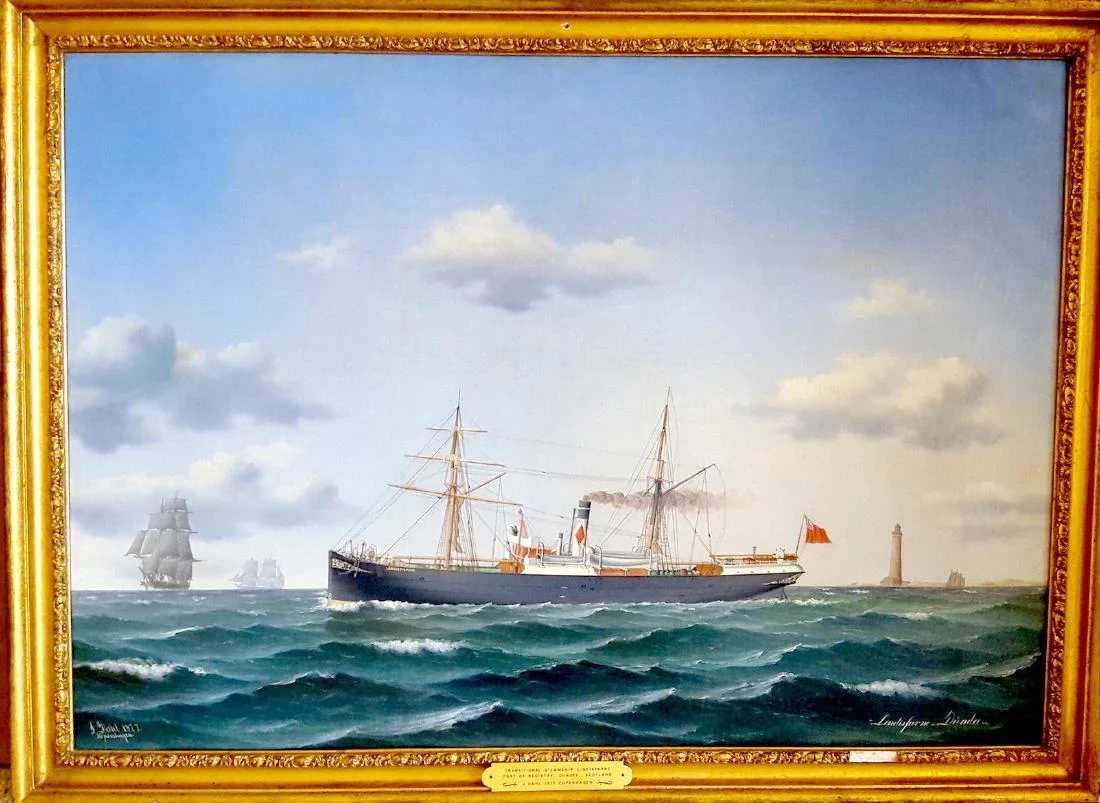 Jorgen Dahl Danish 1825 1890 Steamship Painting