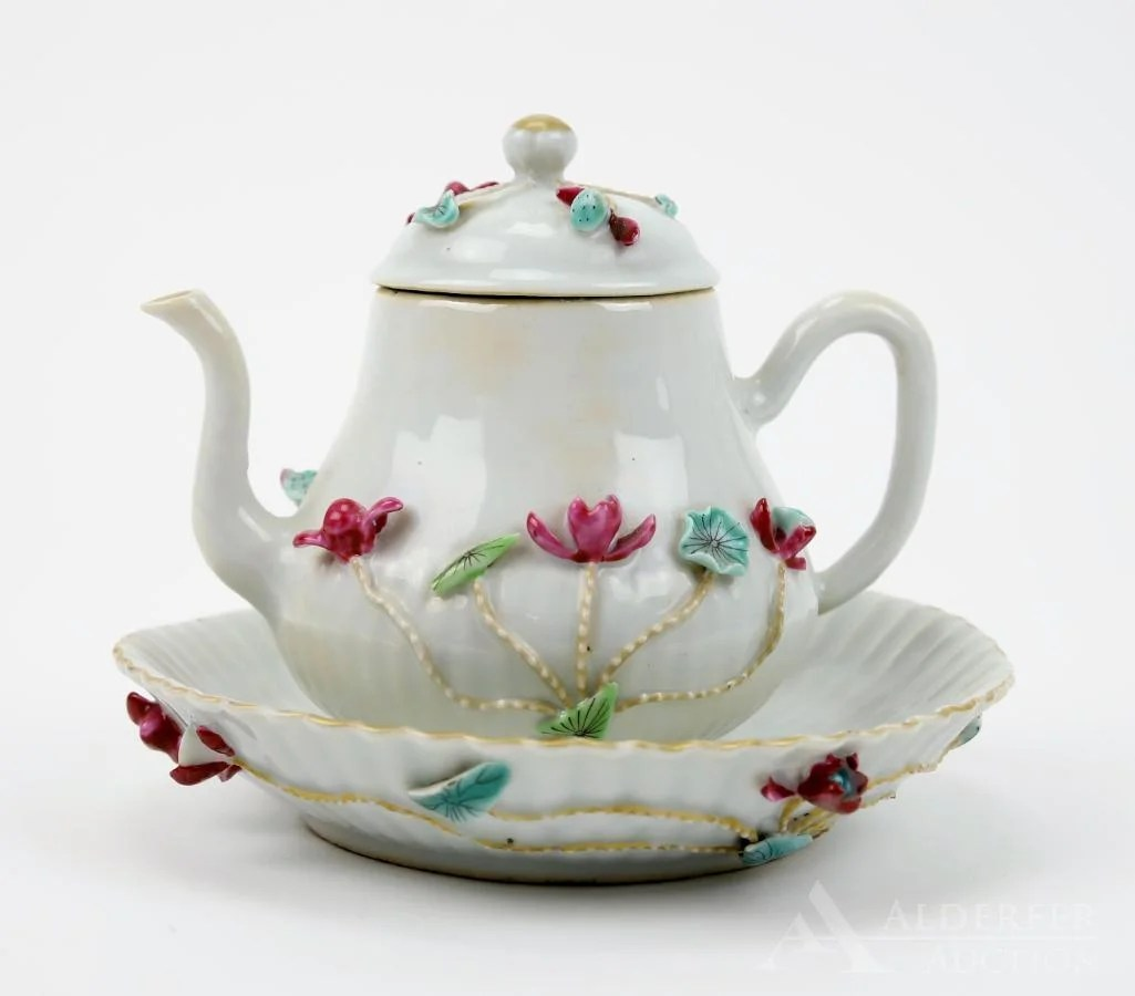 Chinese Famille Rose Teapot and Plate