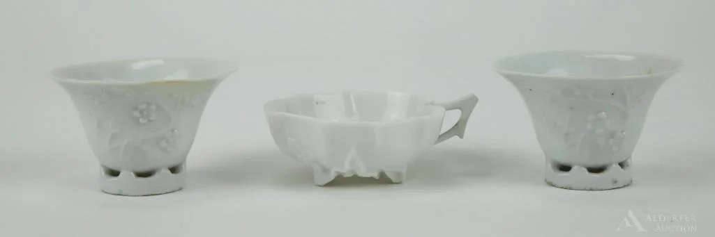 Blanc de Chine Teacups & Leaf Form Dish