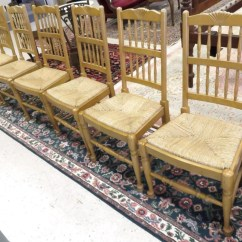 Rush Seat Chairs Swivel Chair The Range Set 6 Fruitwood Spindle Back