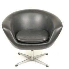 Swivel Pod Chair Emil J Paidar Barber Overman Black Leather Lounge
