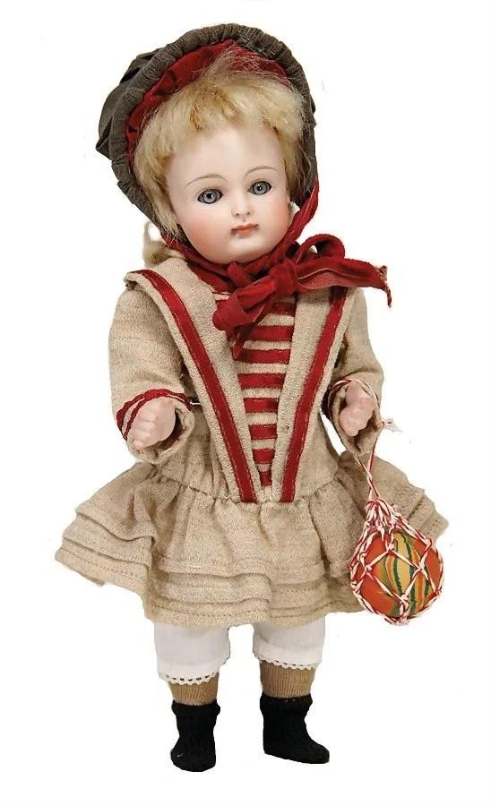 doll with porcelain head, marked III, grey sleepy eyes,