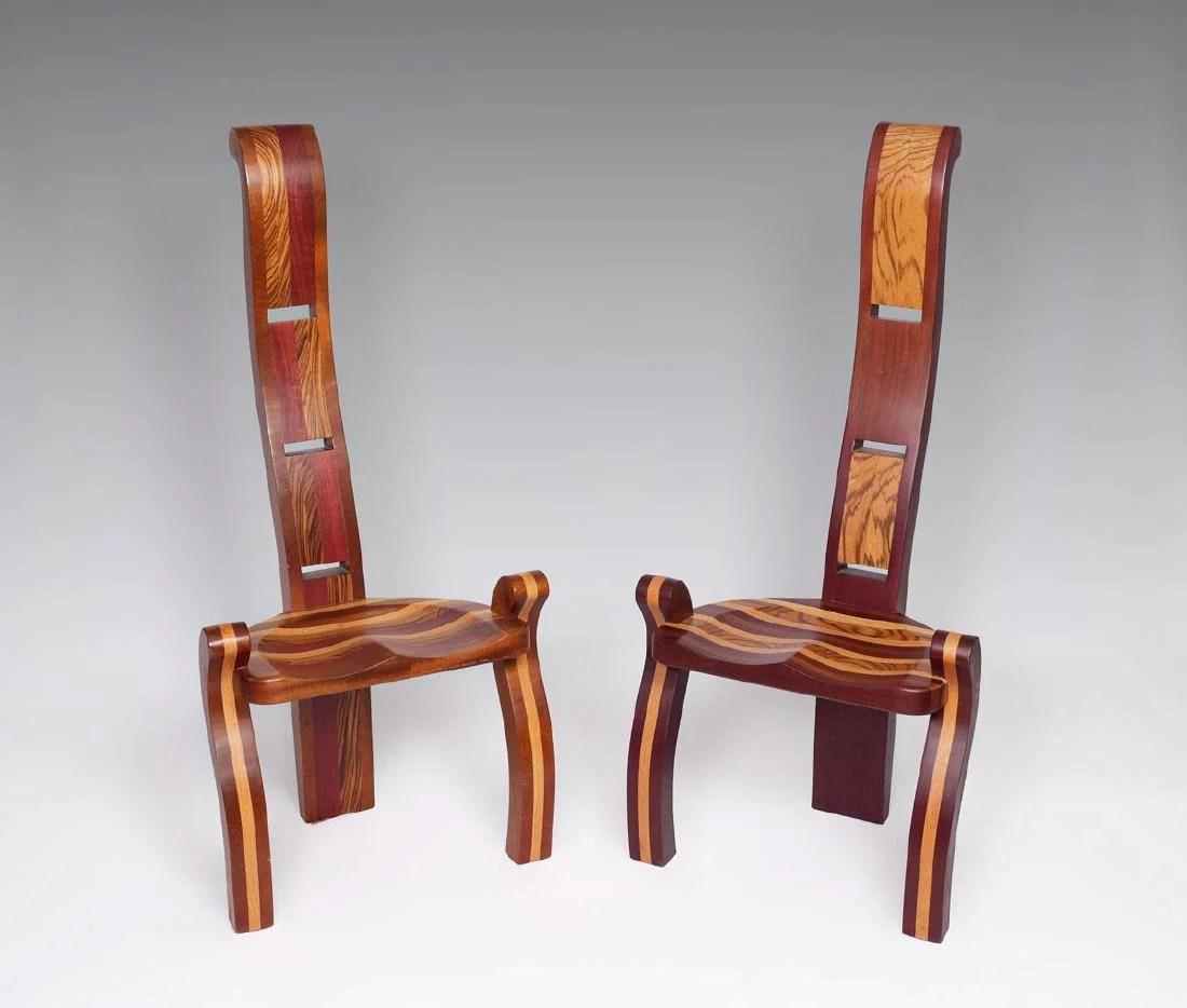 3 legged chair folding desk pair albert zimmerman exotic wood chairs