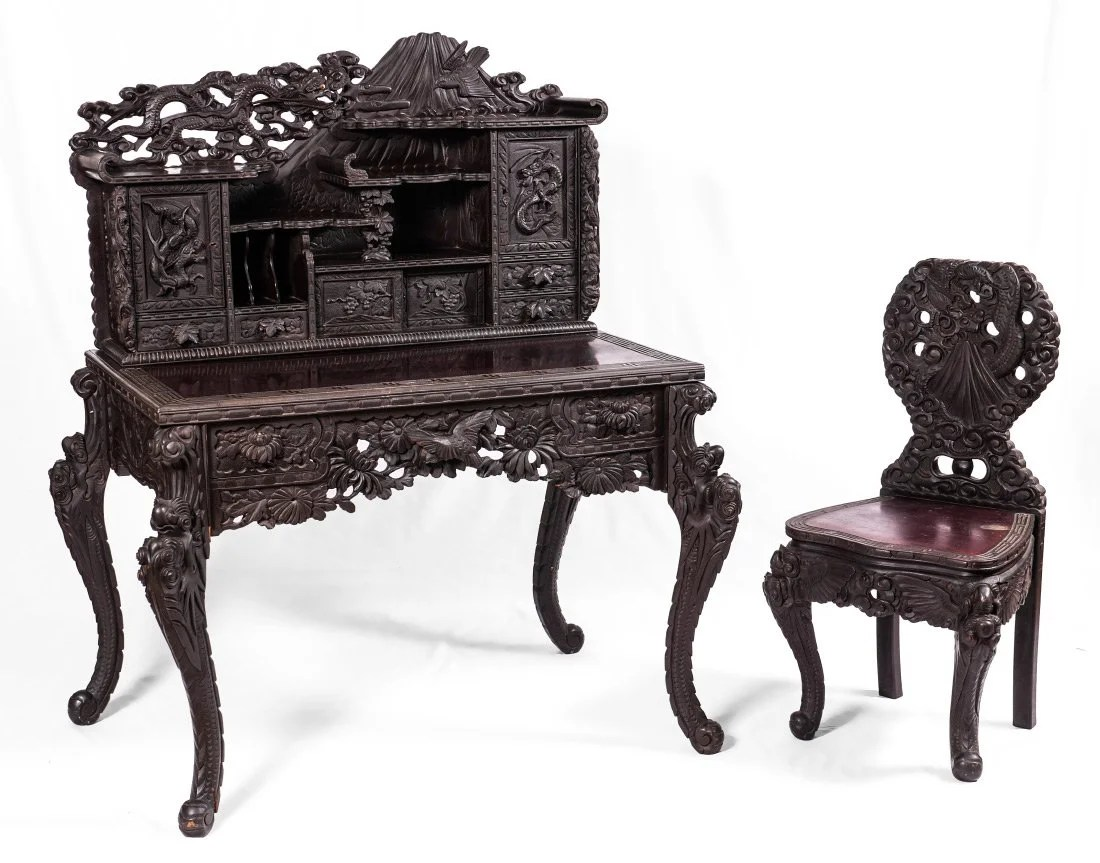 Japanese Chair Japanese Carved Figural Dragon Desk And Chair