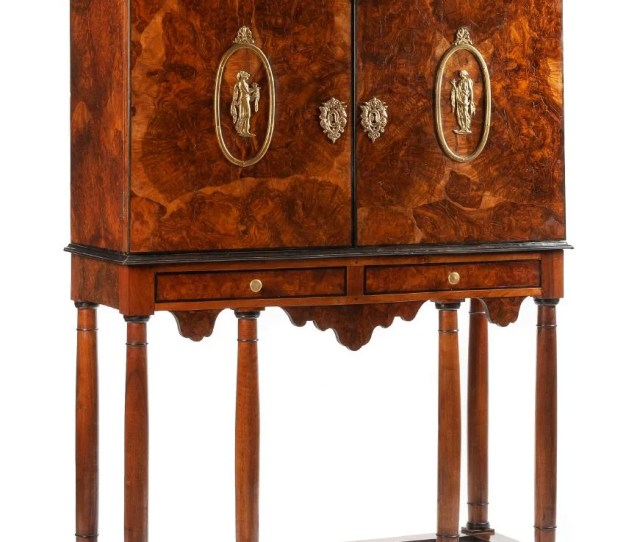 A Dutch Gilt Bronze Mounted Cabinet On Stand Height
