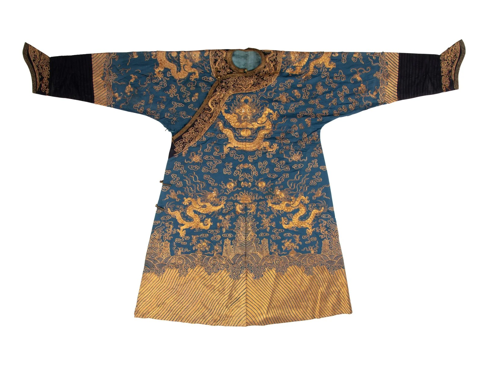 A Blue Ground Embroidered Silk Dragon Robe