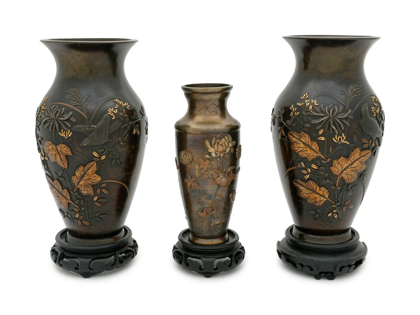 Three Japanese Mixed Metal Vases Height of tallest 7