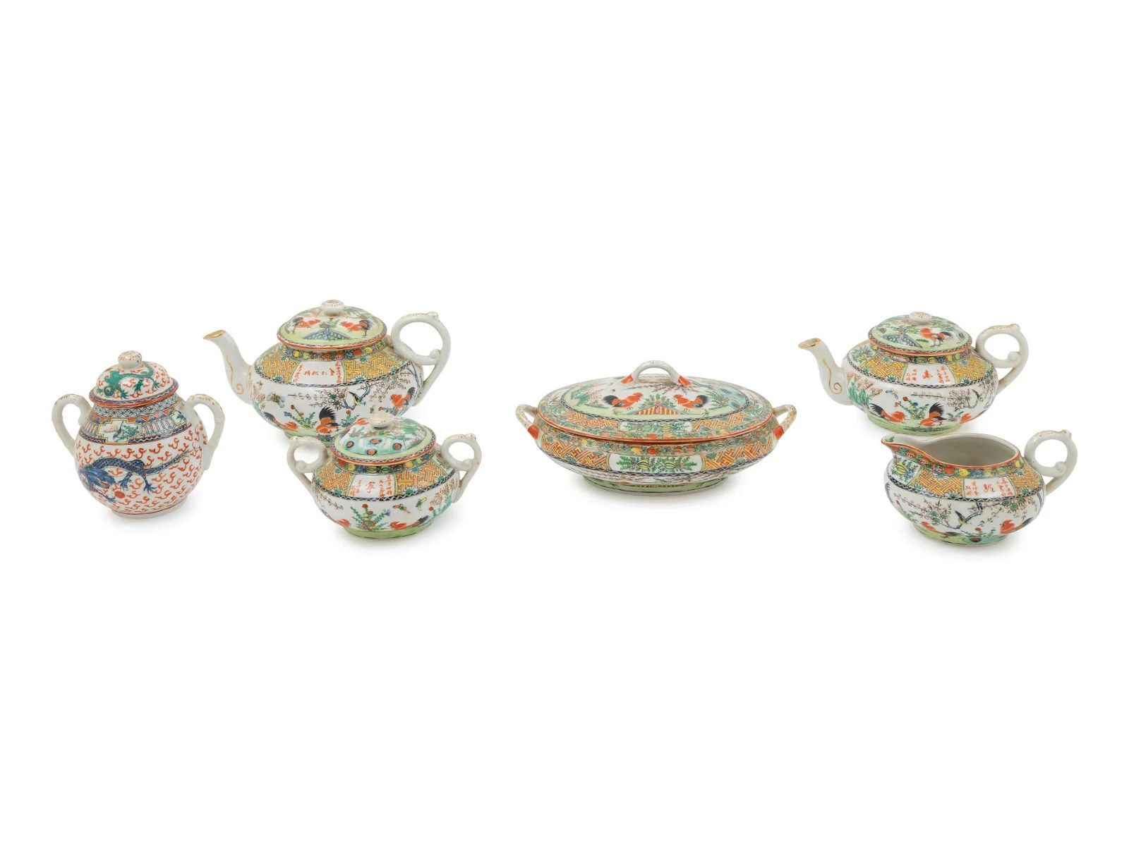 Six Chinese Export Famille Rose Tea Wares Diam of