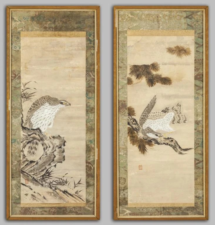 "\""Rapaci\"" coppia di dipinti su carta, Giappone"