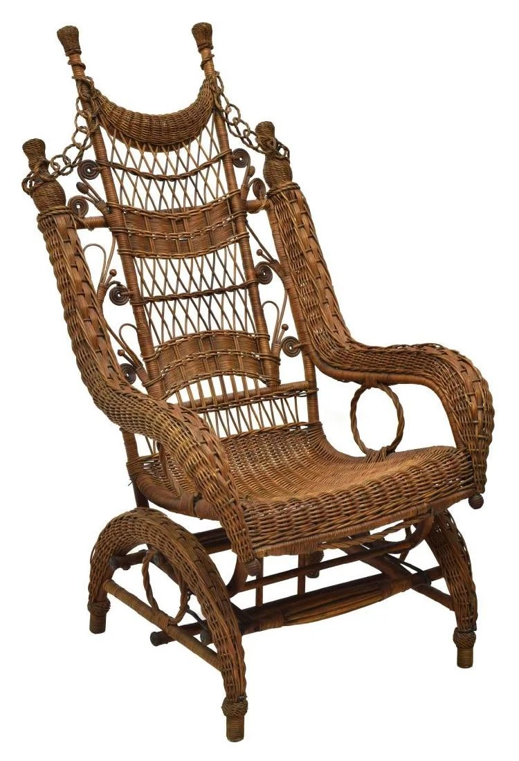 Wicker Rocking Chair Fancy Ordway Wicker Rocking Chair C 1893 On Liveauctioneers
