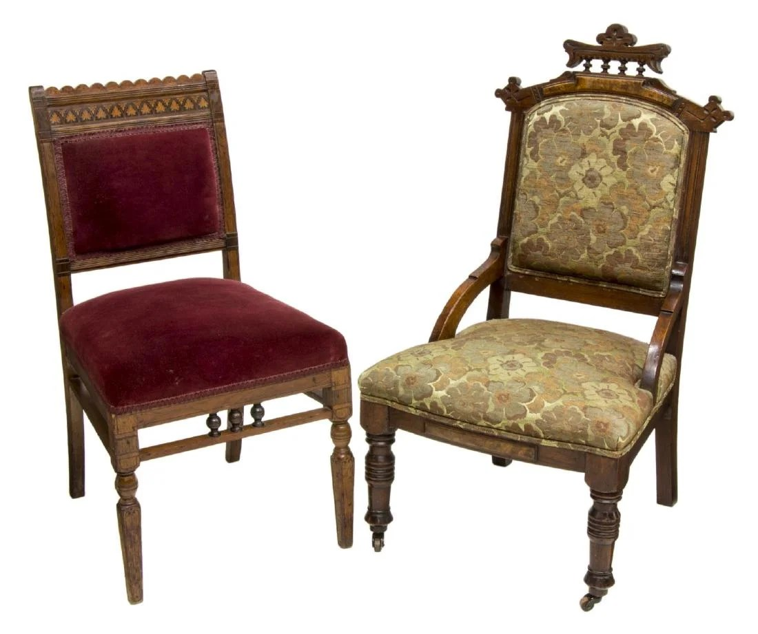 Antique Parlor Chairs 2 American Victorian Eastlake Parlor Chairs On Liveauctioneers