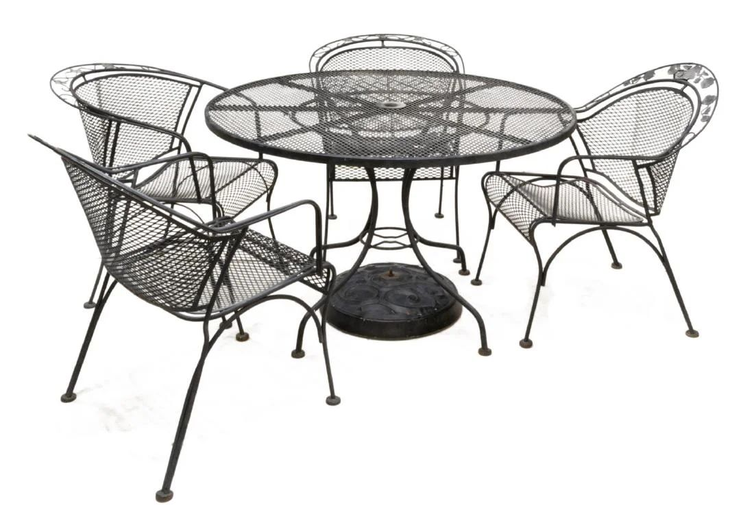 6 woodard pierced black wrought iron patio set