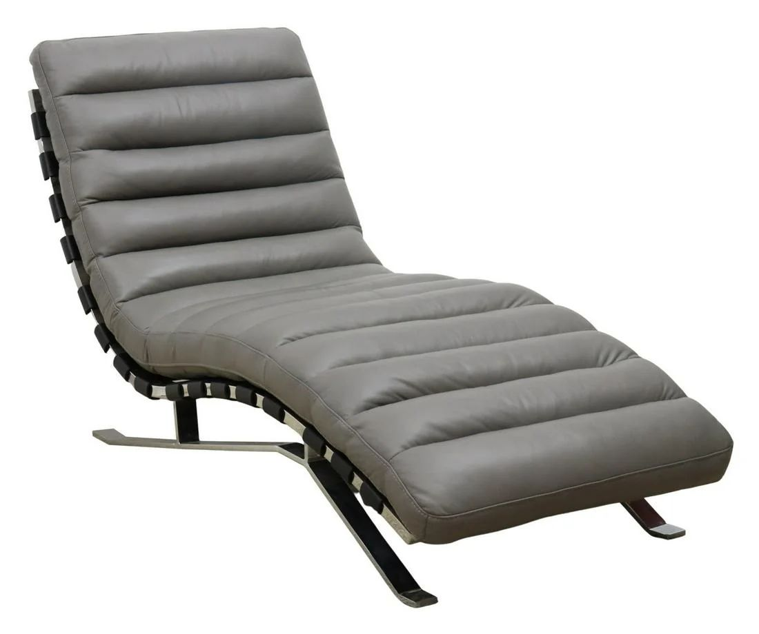 modern chrome leather chaise lounge chair