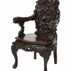 Antique Chinese Dragon Chair Desk Combo Highly Carved Rosewood