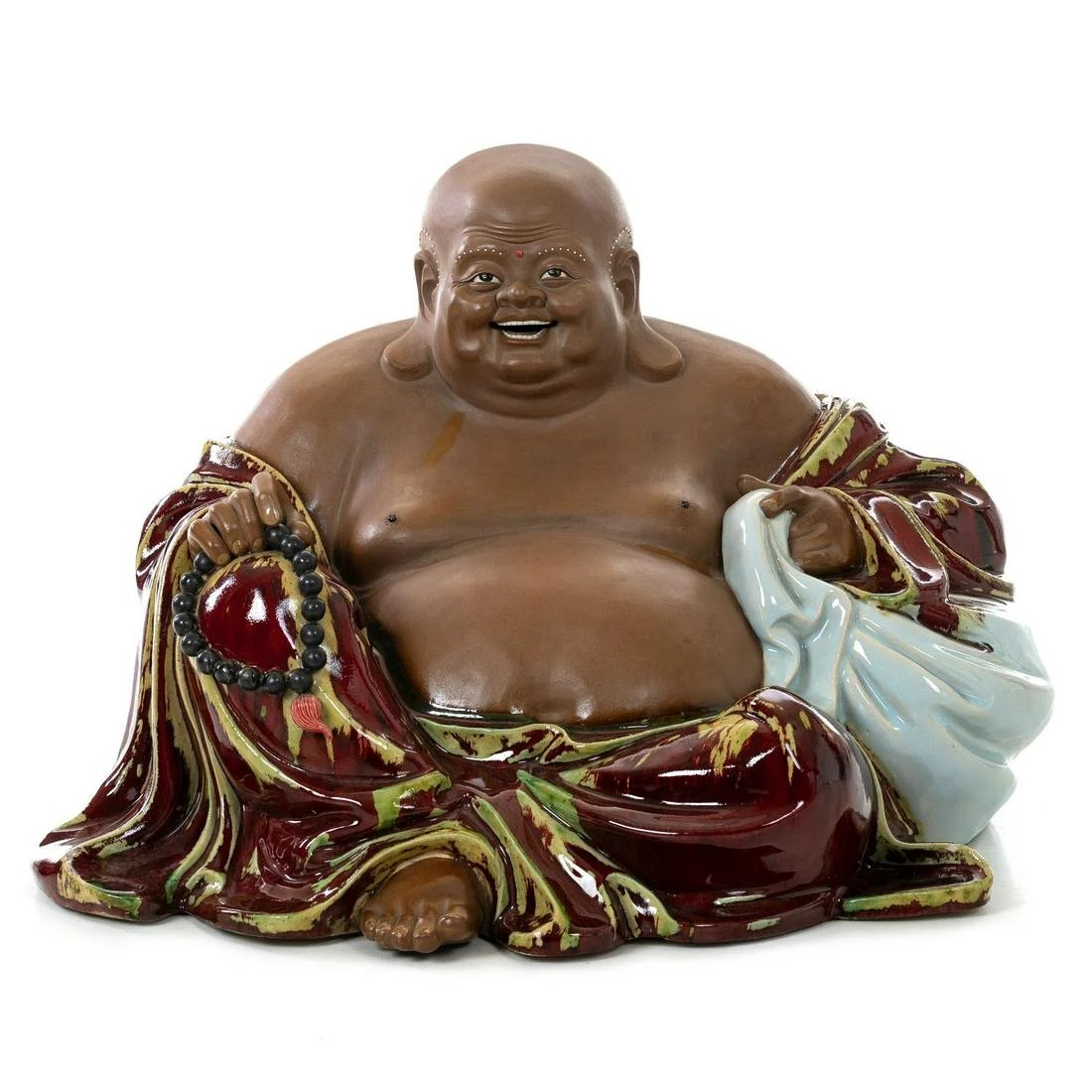 Large Chinese Ox blood glazed stoneware Buddha