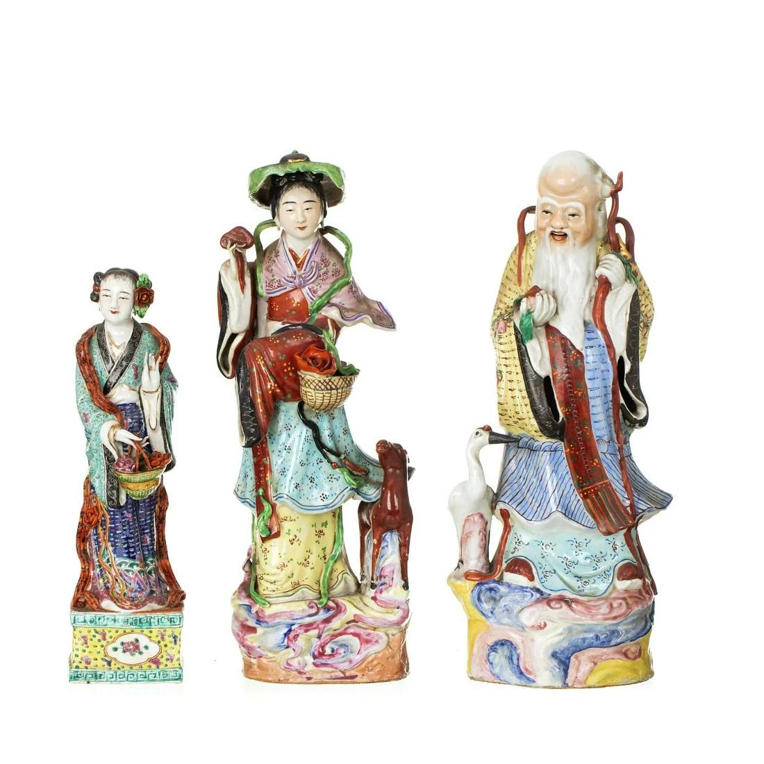 Three deities in Chinese porcelain