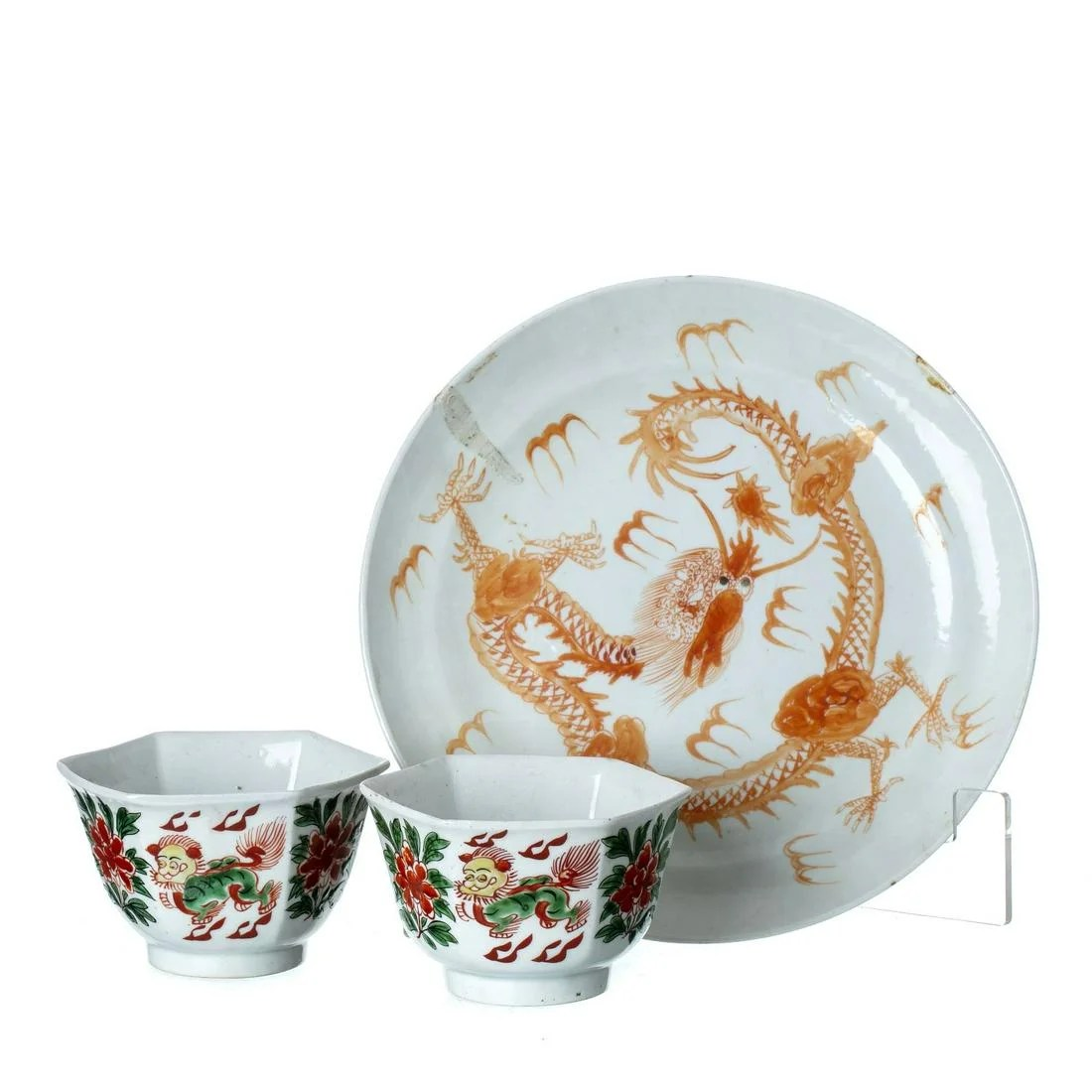 Chinese porcelain dragon plate and two cups